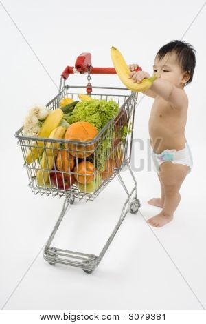 Baby Pushes A Shopping Cart