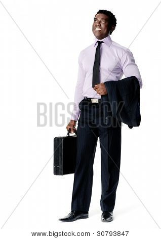 confident young black business entrepreneur stands with his briefcase ready to take on the world. isolated on white
