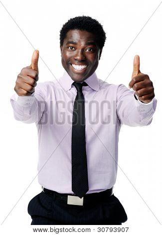 Black businessman shows a positive thumbs up gesture as a sign of motivation