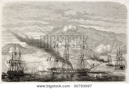 Intervention in Mexico: French fleet entering in Acapulco harbour. Created by Lebreton, published on L'Illustration, Journal Universel, Paris, 1863