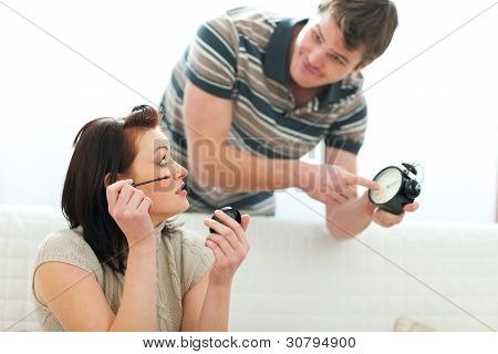 Guy Trying To Hurry Up Girlfriend Applying Make-up Too Long
