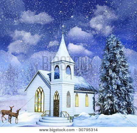 Deer in Snow Scenes Snow Scene Winter Church With