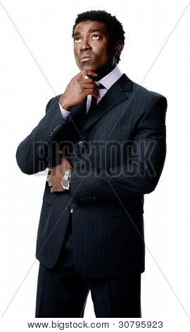 Black african businessman thinking and looking upward isolated on white