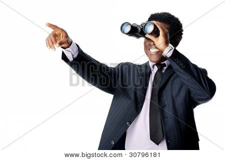 Binocular businessman pointing and smiling isolated on white