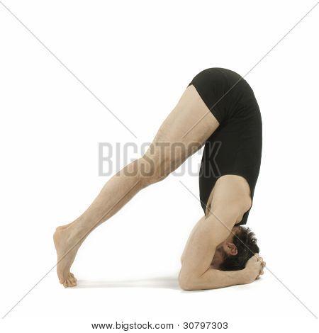 Man Doing Yoga on white background