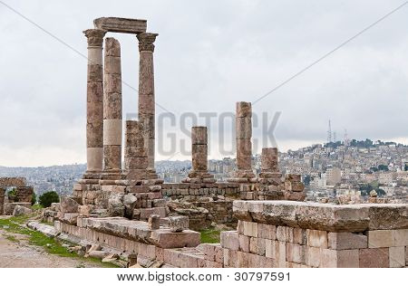 Temple Of Hercules In Antique Citadel In Amman