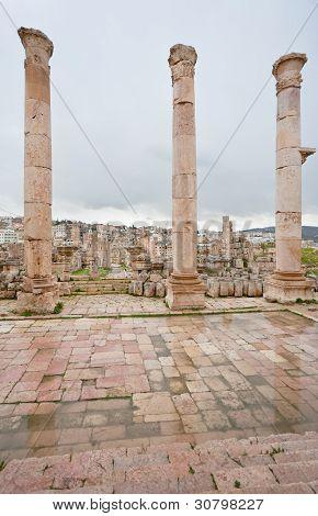 View Through Antique Artemis Temple In Ancient City  Gerasa To Modern Jerash