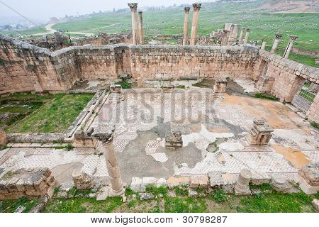 Ruin Of Christian Church In Antique Town Jerash,