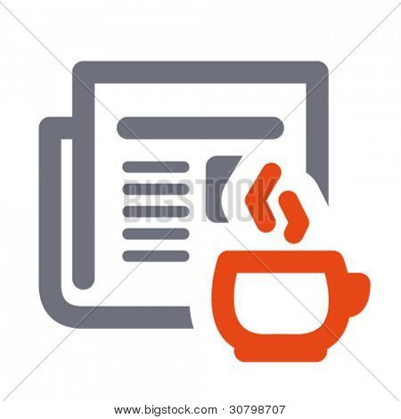 News icon: daily newspaper and hot coffee. Aligned according to pixel grid. Specially for Web and small-sizes