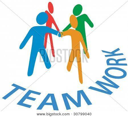 Equipo de personas unen manos como símbolo de trabajo en equipo colaboración o cooperación