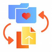Favorites Folder Flat Icon. Add Files To Folder Color Icons In Trendy Flat Style. Folder With Heart  poster