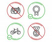Do Or Stop. Bicycle, Reward And Laureate Medal Icons Simple Set. Best Rank Sign. Bike, Best Medal, L poster