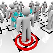 Several employees stand on an organizational chart grid and shoot arrows into the back of a coworker