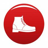 Hiking Boots Icon. Simple Illustration Of Hiking Boots Vector Icon For Any Any Design Red poster