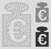 Mesh Euro Weight Model With Triangle Mosaic Icon. Wire Frame Triangular Mesh Of Euro Weight. Vector  poster