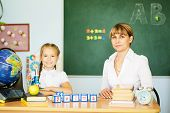 Knowledge Is Always Yours. Teacher And Her Students In Classroom. Teacher Helping Schoolgirl With He poster