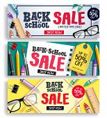 Back To School Sale Vector Web Banner Set. Sale Discount Text With Colorful Items And Elements For B poster