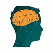 Man Avatar Profile View. Male Face Silhouette Or Icon. Mental Health Relative Icon. Scientific Medic poster