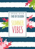 Summer Vibes Flat Card As Special Seasonal Offer. Great Discount Promotion To End Of Season. Vector  poster