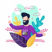 Flat Bearded Smiling Man With Camera Enjoying Summer Vacation. Cartoon Happy Male Tourist Satisfied  poster