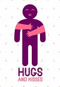 Hugs And Kisses With Loving Hands Of Loved Person And Kissing Lips, Lover Woman Hugging His Man And  poster
