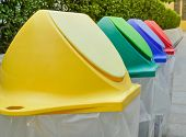 Different Colored Recycle Garbage Trash Bins In The Park. Recycling Garbage For Environment, Close U poster