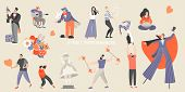 Set Of Vector Illustrations Of Various Street Performances. Big Festival Of Street Culture And Enter poster