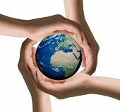 Conceptual symbol  human hands surrounding the Earth globe.  Isolated on white background.