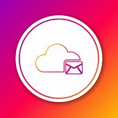 Color Cloud Mail Server Line Icon Isolated On Color Background. Cloud Server Hosting For Email. Onli poster