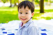 Portrait Cute Toddler Or Preschool Boy. Lovely Little Boy Smiling And Looking To Camera. Handsome Ch poster