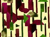 Bauhaus Seamless Pattern. Watercolor Geometric  Yellow Saffron Lines Design. Art Organic Geo Backgro poster