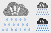Dot And Mosaic Strong Rain Clouds Icons. Vector Icon Of Strong Rain Clouds Created Of Scattered Circ poster