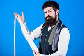 Guy With Beard Choosing Necktie. Perfect White Silk Necktie. How To Select Tie. When Dressing In Sui poster