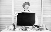 Giving Her Liking. Master Cook Gesturing Thumbs Up With Empty Blackboard. Chief Cook Teaching In Coo poster