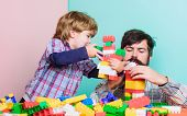 Importance Of Playing Together. Dad And Son Have Fun. Childish Cheerful Dad And Funny Son. Dad Play  poster