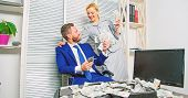 Man Businessman And Woman Secretary With Pile Dollar Banknotes. Profit And Richness Concept. Busines poster