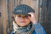 Preschool Child. Boy Face. Elegant Child. Autumn Weather. People, Adorable Kid, Funny Portrait. Cap, poster
