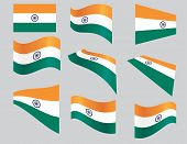 image of ashok  - set of Indian flags over gray background vector illustration - JPG