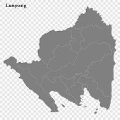 High Quality Map Of Lampung Is A Province Of Indonesia poster