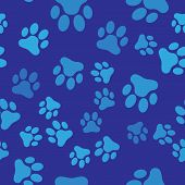 Blue Paw Print Icon Isolated Seamless Pattern On Blue Background. Dog Or Cat Paw Print. Animal Track poster