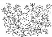 Abstract Coloring Page With Summer Flowers And Cute Dog, For Kids And Adults poster