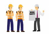 Contractor Briefs Work Safety To His Construction Workers. Concept Of Work Safety And Teamwork. Flat poster