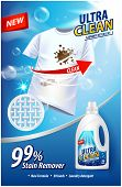 Laundry Detergent, Stain Remover Ad Template. Ads Poster Design On Blue Background With White T-shir poster