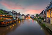 Quaint Timbered Houses Of Petite France In Strasbourg, France. Franch Traditional Houses At Strasbou poster