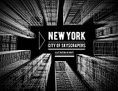 New York Is A City Of Skyscrapers. Vector Illustration In The Drawing Style On A Black. View Of The  poster