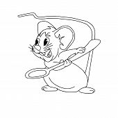 Happy Chinese New Year Calendar, Greeting Card, Cute Mouse, Rat In Poses. Animal Cartoon Set, Card W poster