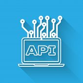 White Computer Api Interface Line Icon Isolated With Long Shadow. Application Programming Interface  poster