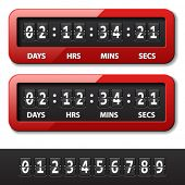 vector red mechanical counter - countdown timer