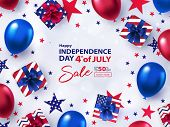 Fourth Of July Sale Banner. 4th Of July Holiday Background With Bright Helium Balloons, Gift Boxes,  poster