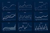 Data Graphic Charts. Maths Coordinates Graph, Growth Chart Graphics And Business Infographic Graphs. poster
